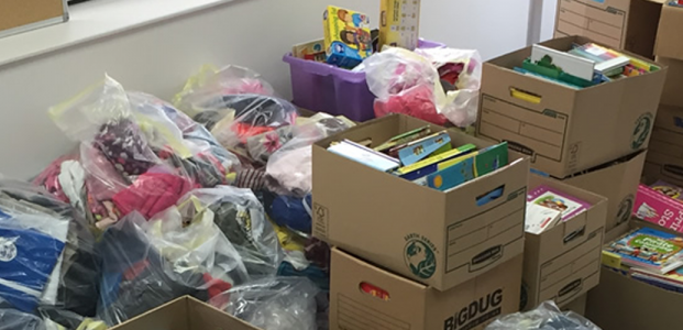 Containers of donated items to be shipped to Kenya soon