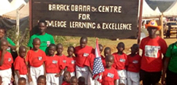 Pupils from The Soma Leo Academy travel to welcome President Barack Obama to Kenya
